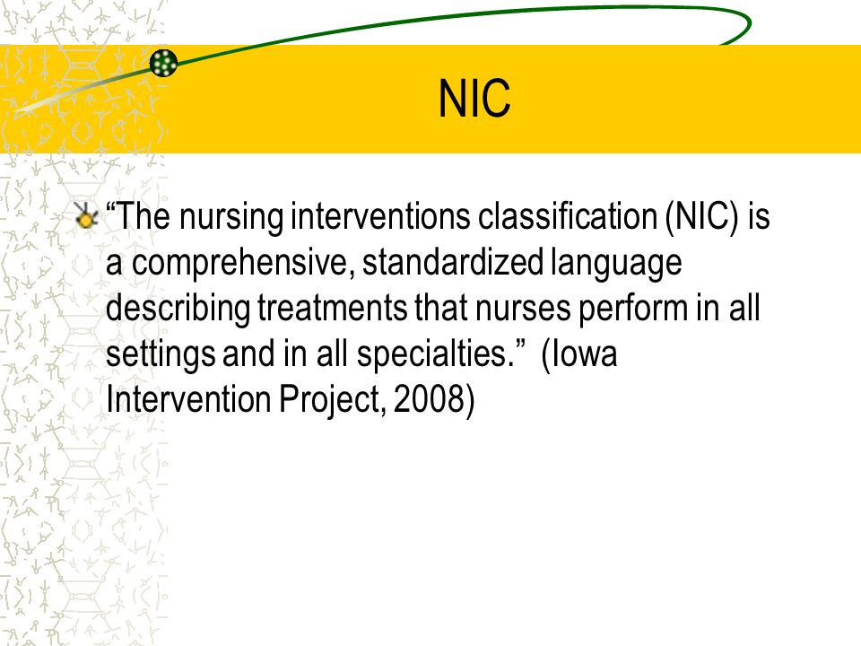 application of nursing interventions classification nic Nic nursing intervention classification  quality school nursing documentation depends upon the individual school nurse accurately recording his/her nursing assessments, plans, interventions and client outcomes use of the nursing process assures that all  heat/cold application (injury) htcld smoking cessation assistance (group) smokeg.