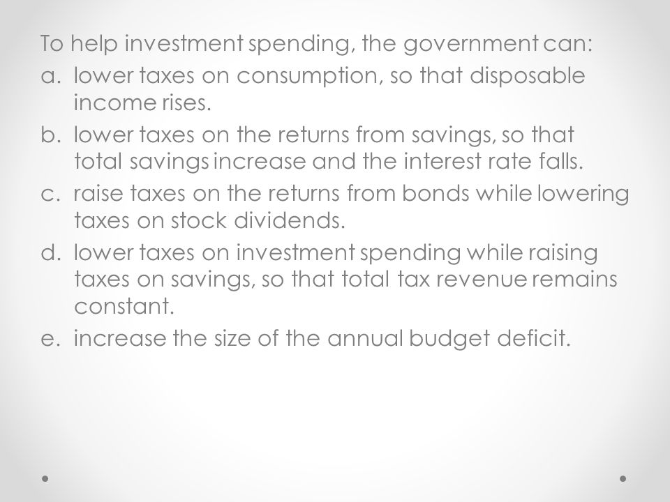 To help investment spending, the government can: