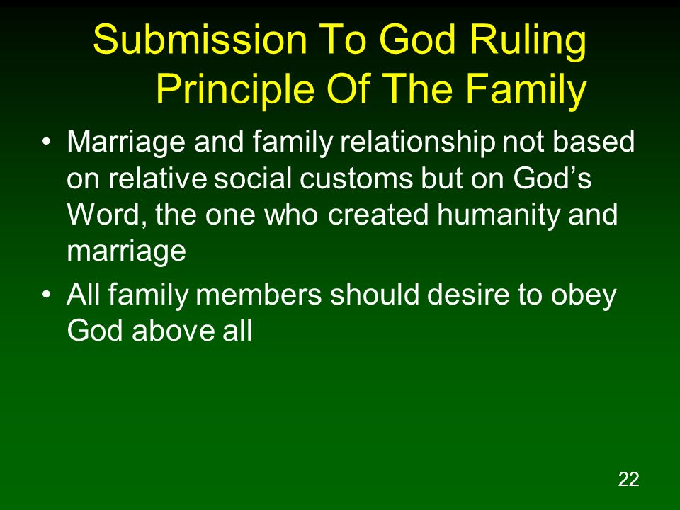Submission To God Ruling Principle Of The Family