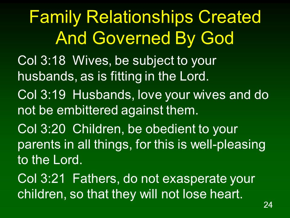 Family Relationships Created And Governed By God