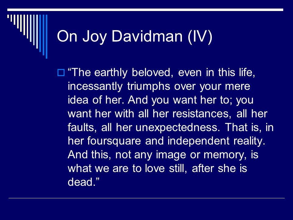 On Joy Davidman (IV)