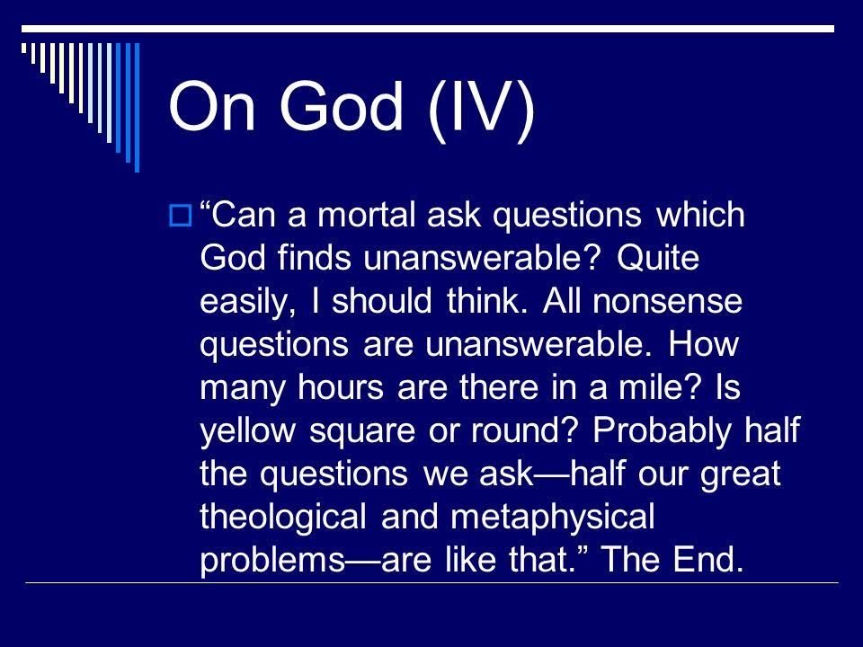 On God (IV)