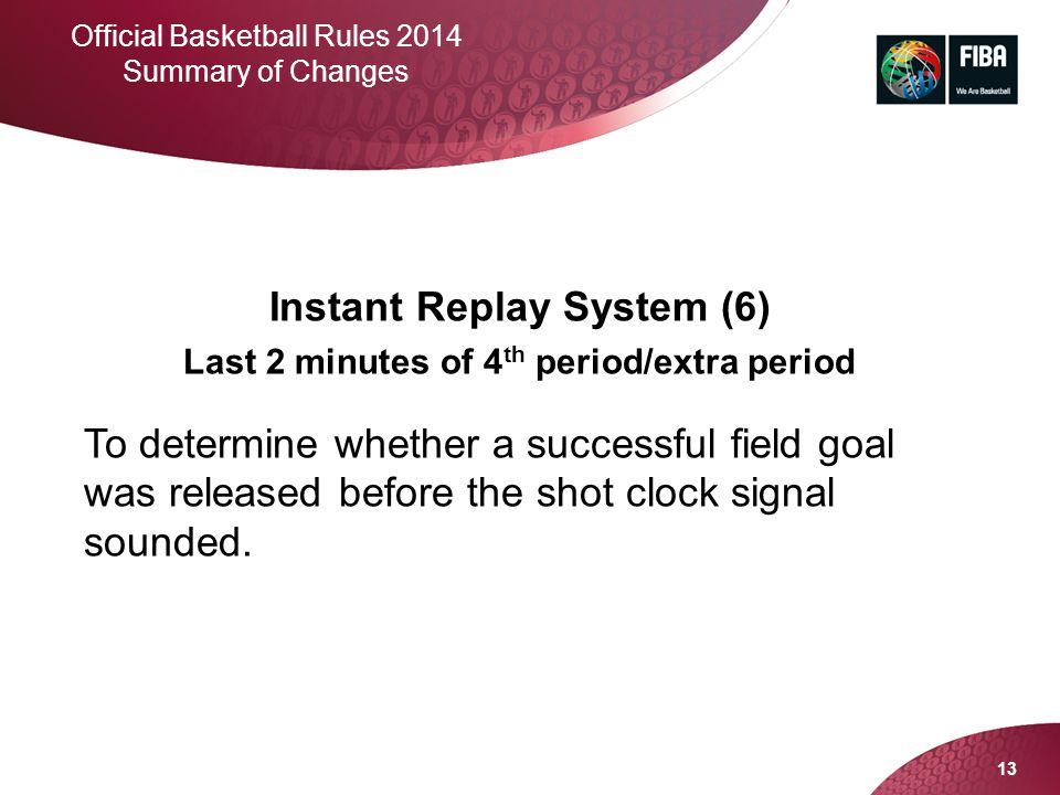Instant Replay System (6) Last 2 minutes of 4th period/extra period