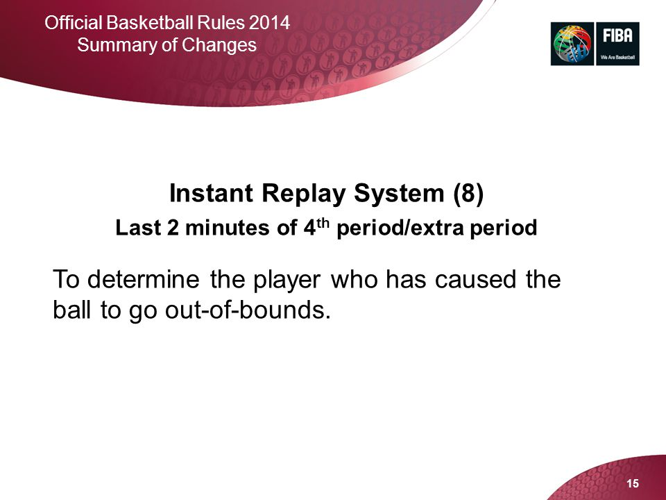 Instant Replay System (8) Last 2 minutes of 4th period/extra period