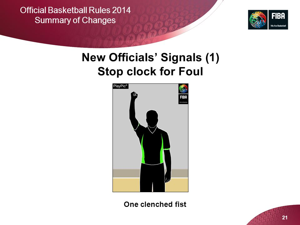 New Officials' Signals (1) Stop clock for Foul