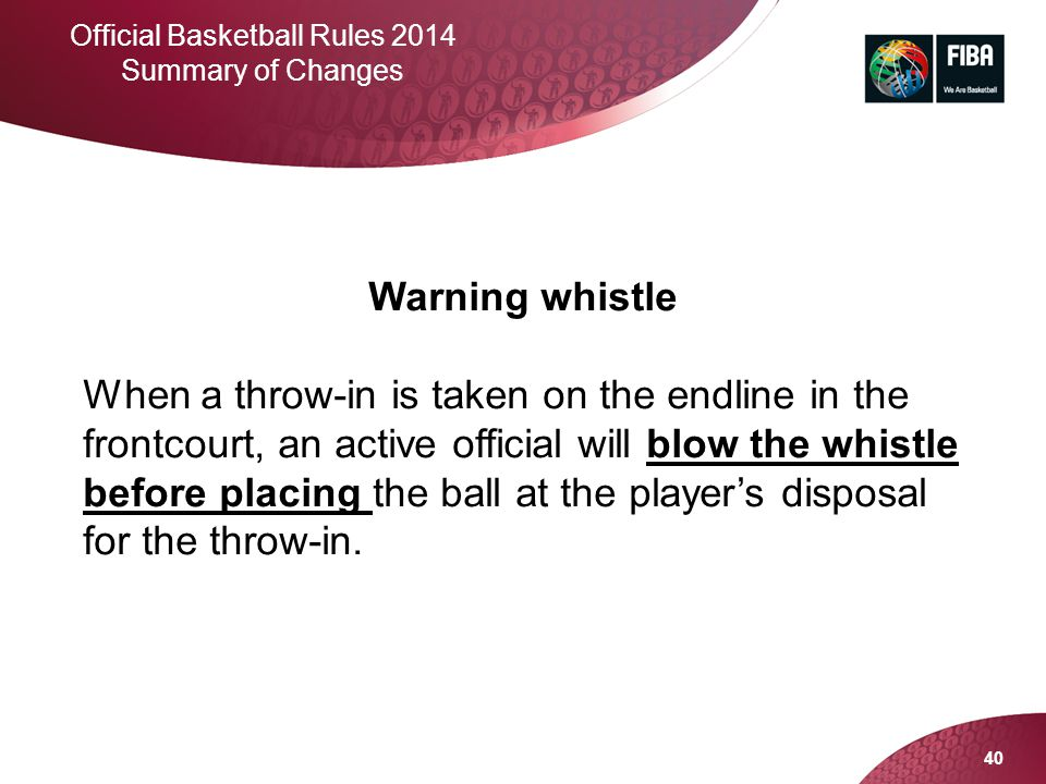 Official Basketball Rules 2014 Summary of Changes