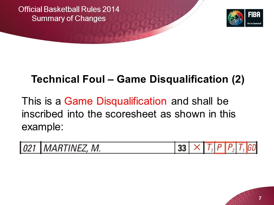 Technical Foul – Game Disqualification (2)