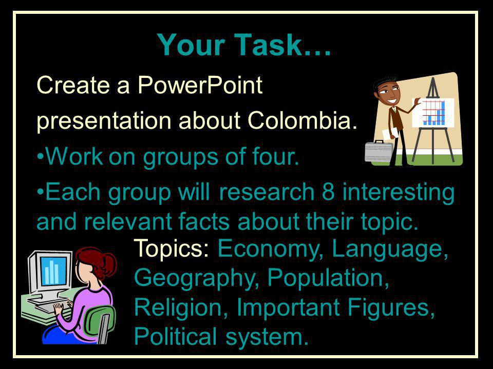 Your Task… Create a PowerPoint presentation about Colombia.