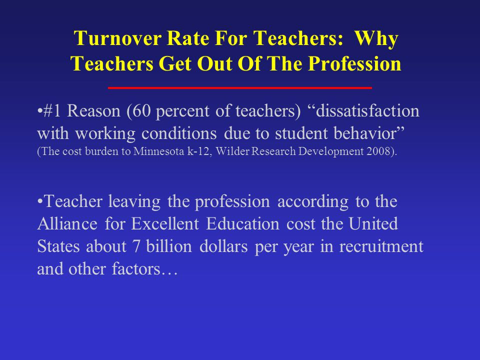 Turnover Rate For Teachers: Why Teachers Get Out Of The Profession