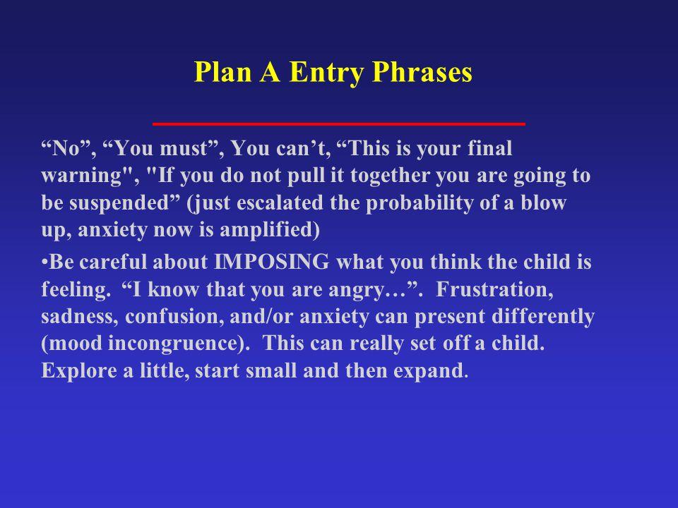 Plan A Entry Phrases