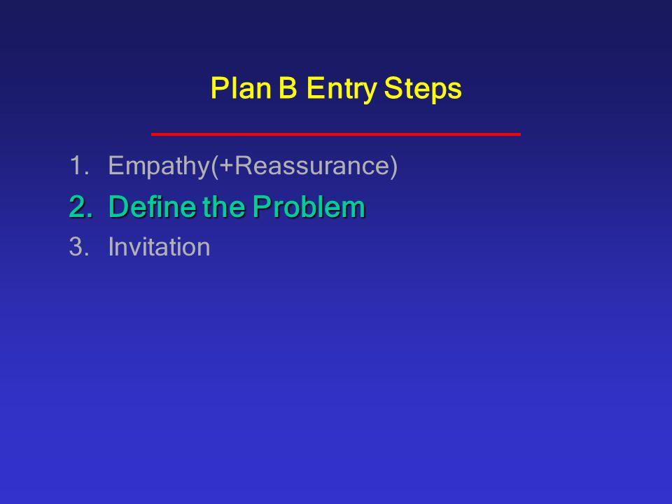 Plan B Entry Steps Empathy(+Reassurance) Define the Problem Invitation