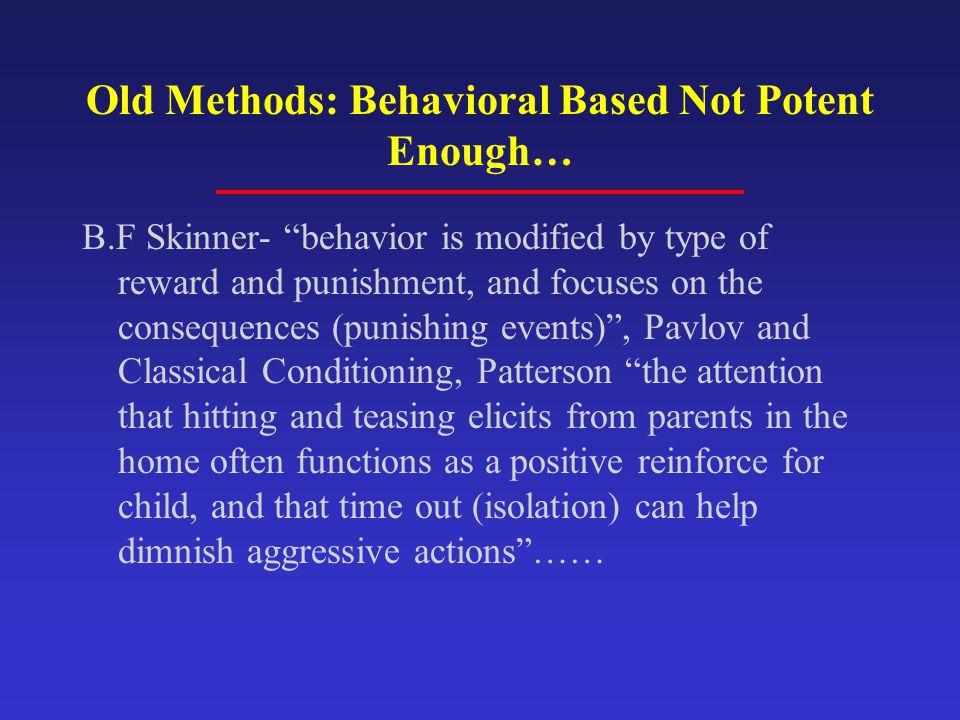 Old Methods: Behavioral Based Not Potent Enough…