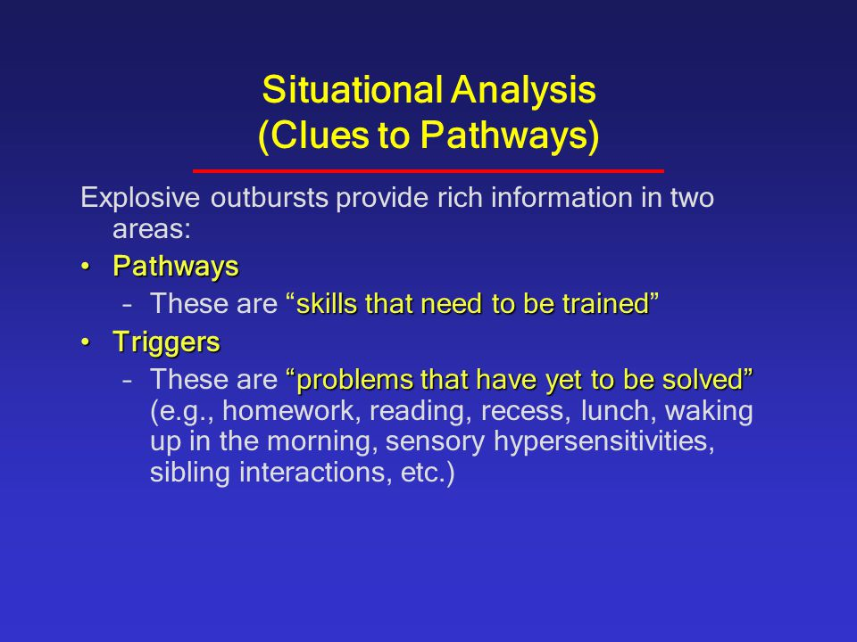 Situational Analysis (Clues to Pathways)
