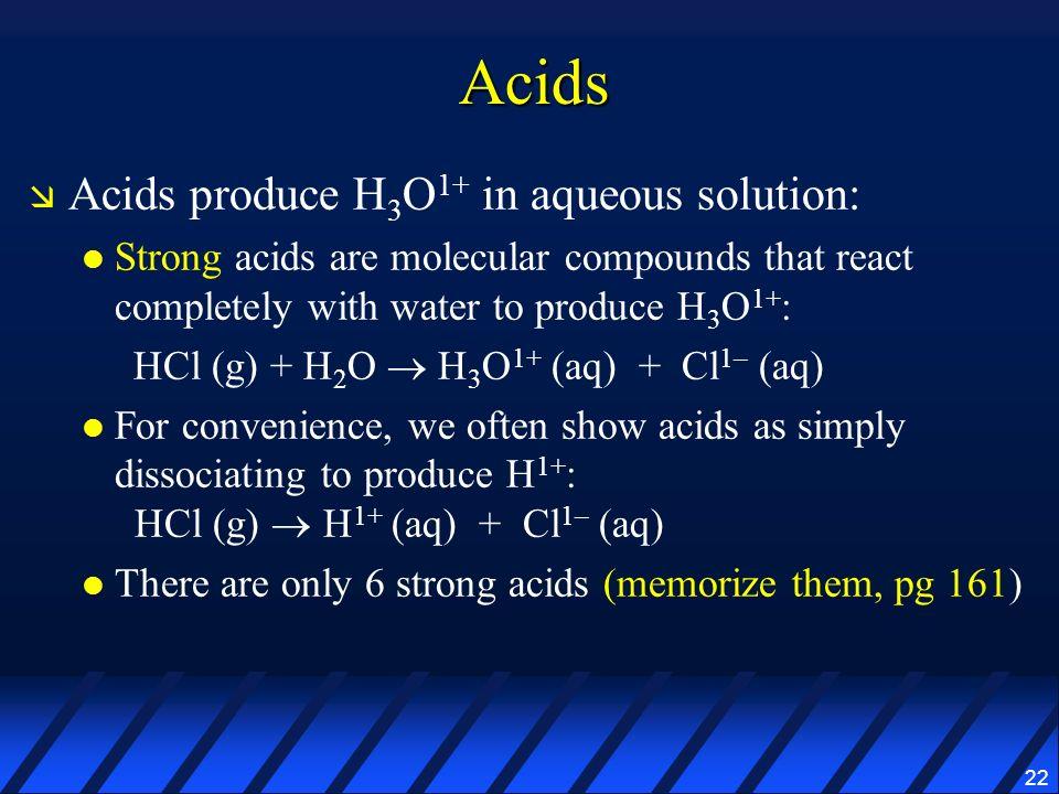 Acids Acids produce H3O1+ in aqueous solution:
