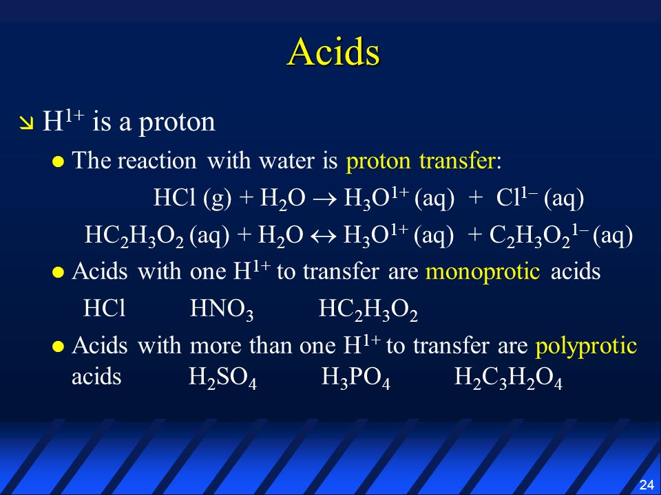Acids H1+ is a proton The reaction with water is proton transfer: