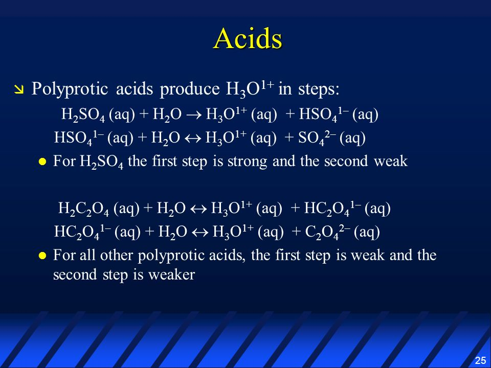Acids Polyprotic acids produce H3O1+ in steps: