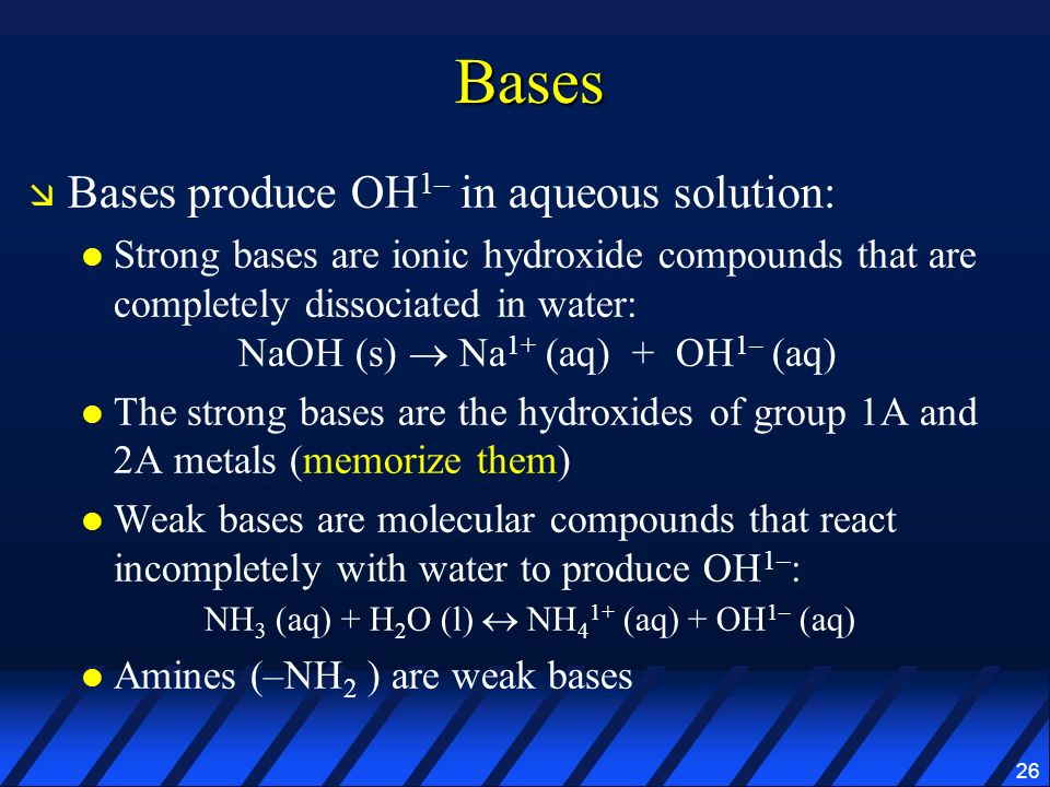 Bases Bases produce OH1– in aqueous solution: