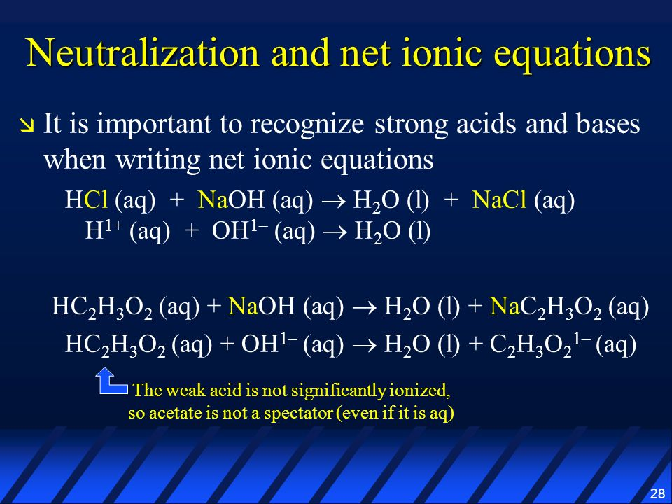 Neutralization and net ionic equations