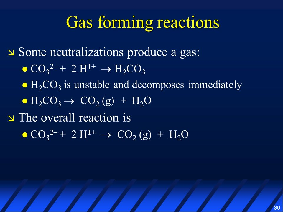 Gas forming reactions Some neutralizations produce a gas: