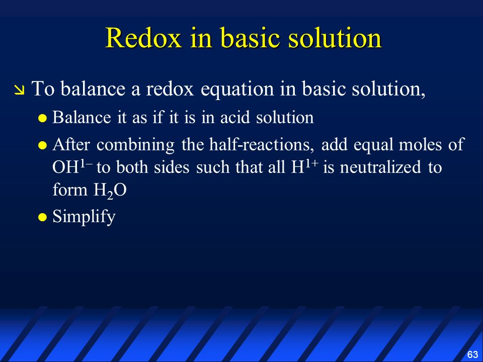 Redox in basic solution