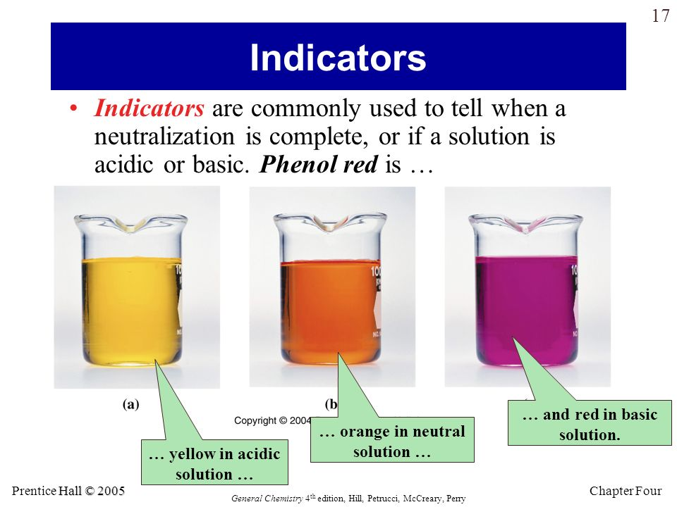 Indicators Indicators are commonly used to tell when a neutralization is complete, or if a solution is acidic or basic. Phenol red is …