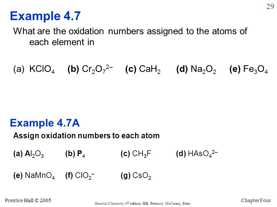 Example 4.7 What are the oxidation numbers assigned to the atoms of each element in. KClO4 (b) Cr2O72– (c) CaH2 (d) Na2O2 (e) Fe3O4.