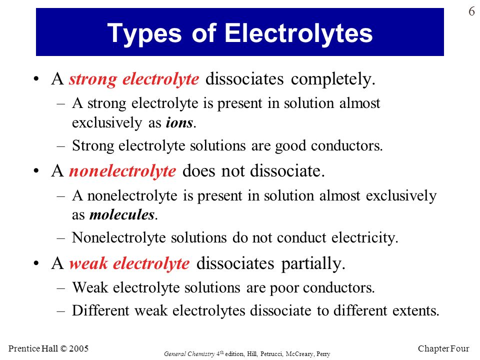 Types of Electrolytes A strong electrolyte dissociates completely.