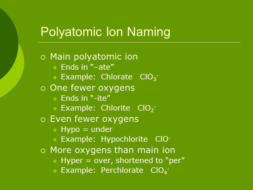 Polyatomic Ion Naming Main polyatomic ion One fewer oxygens