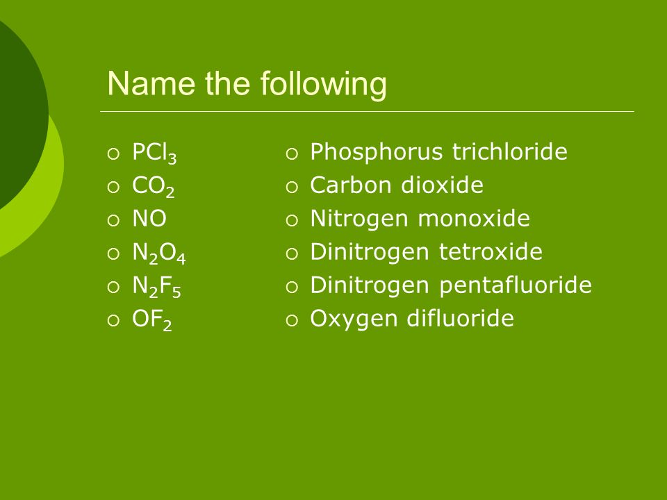 Name the following PCl3 CO2 NO N2O4 N2F5 OF2 Phosphorus trichloride