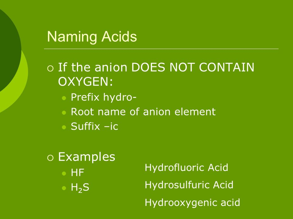 Naming Acids If the anion DOES NOT CONTAIN OXYGEN: Examples