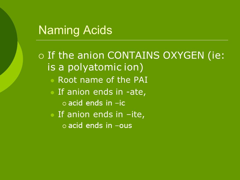 Naming Acids If the anion CONTAINS OXYGEN (ie: is a polyatomic ion)