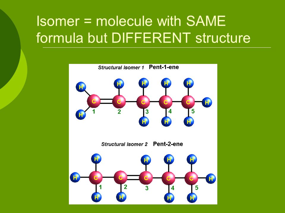 Isomer = molecule with SAME formula but DIFFERENT structure