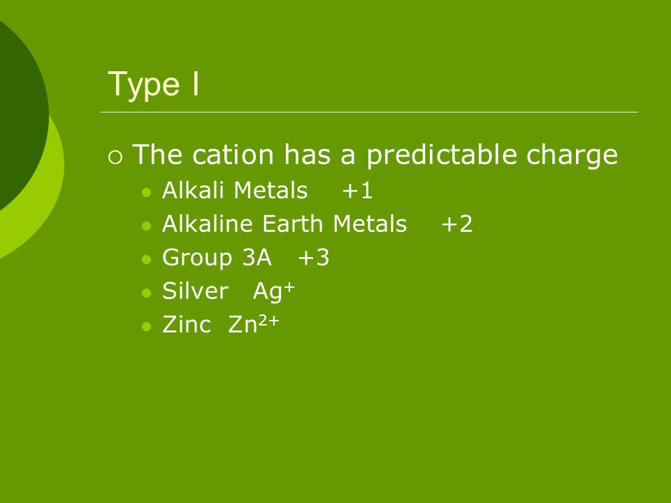 Type I The cation has a predictable charge Alkali Metals +1