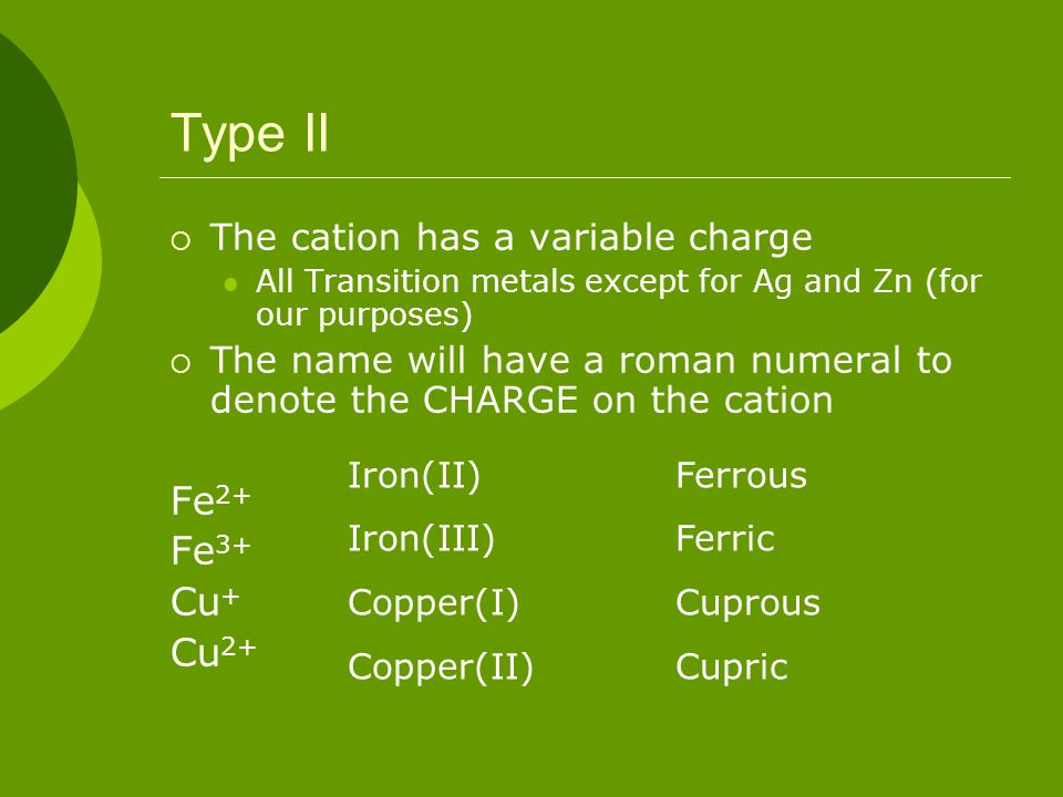 Type II Fe2+ Fe3+ Cu+ Cu2+ The cation has a variable charge