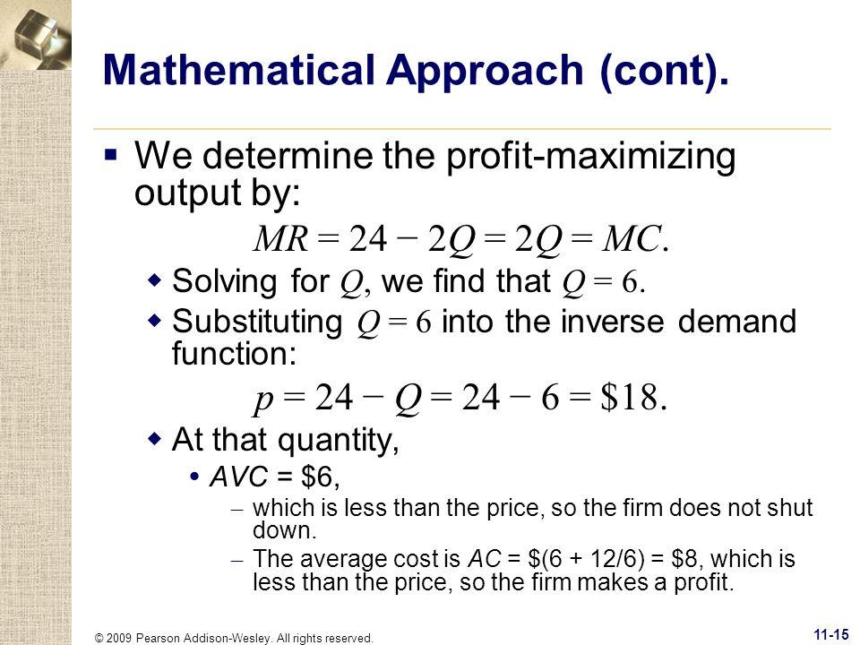 Mathematical Approach (cont).
