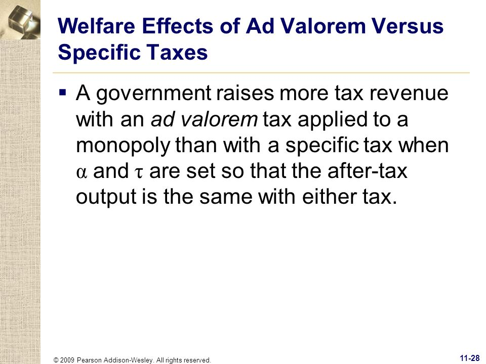 Welfare Effects of Ad Valorem Versus Specific Taxes