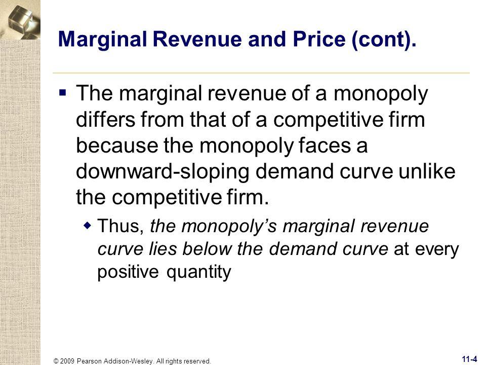 Marginal Revenue and Price (cont).