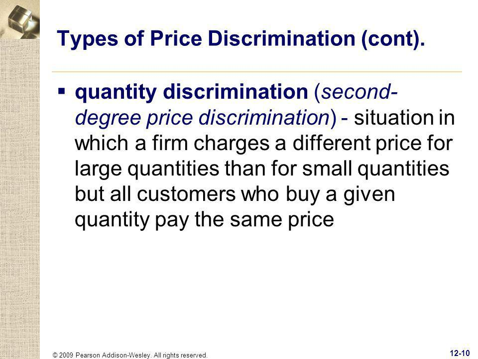 Types of Price Discrimination (cont).