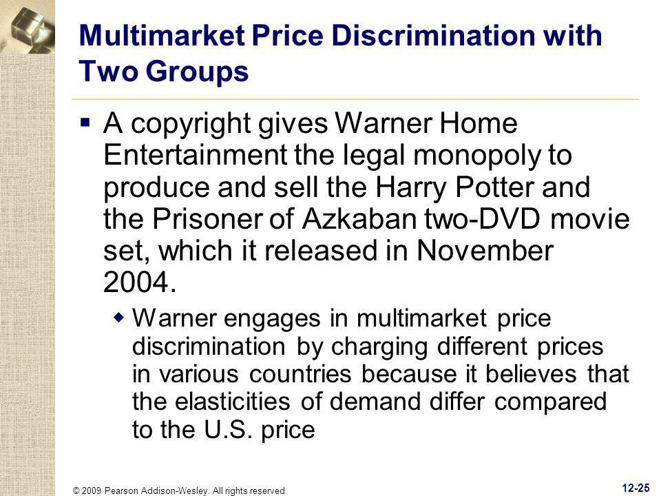 Multimarket Price Discrimination with Two Groups