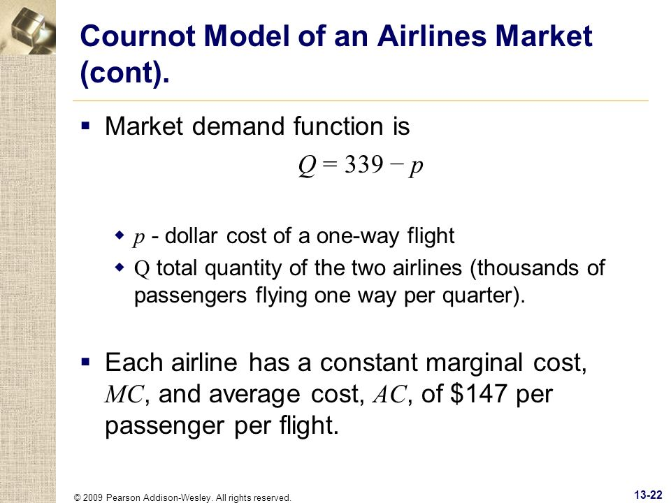 Cournot Model of an Airlines Market (cont).