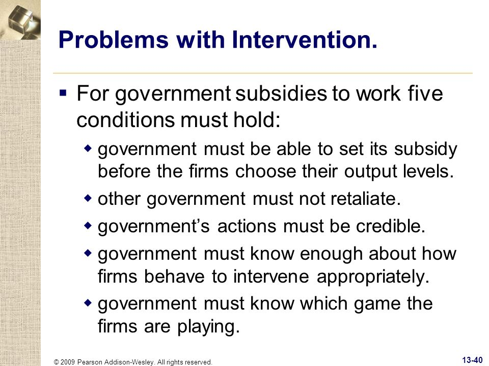 Problems with Intervention.