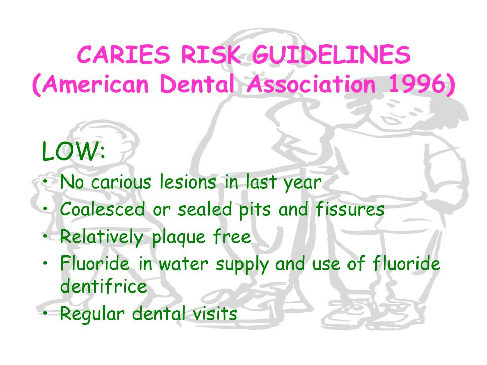 CARIES RISK GUIDELINES (American Dental Association 1996)