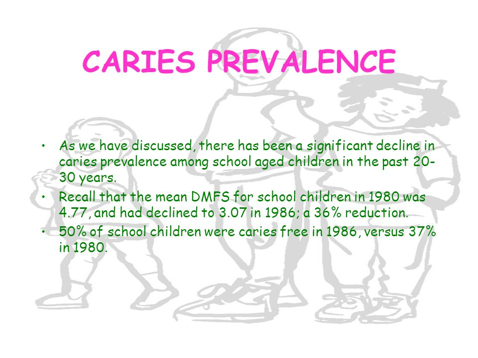 CARIES PREVALENCE As we have discussed, there has been a significant decline in caries prevalence among school aged children in the past 20-30 years.