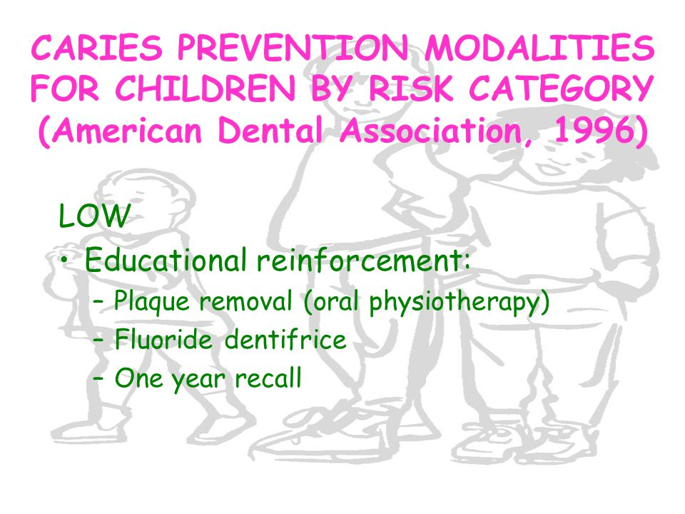 CARIES PREVENTION MODALITIES FOR CHILDREN BY RISK CATEGORY (American Dental Association, 1996)