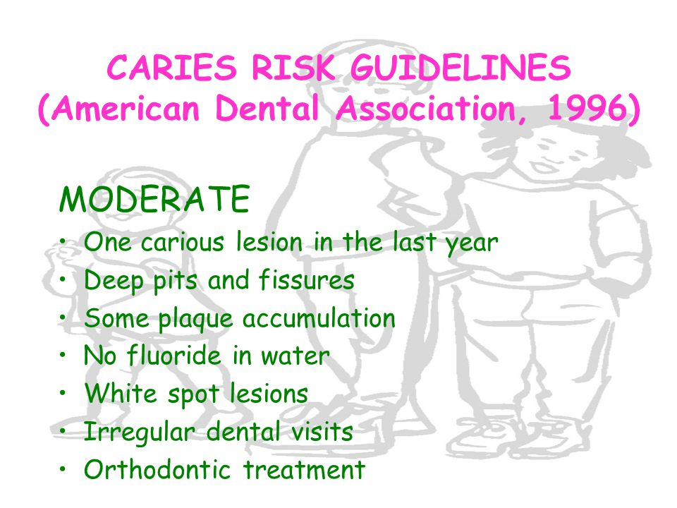 CARIES RISK GUIDELINES (American Dental Association, 1996)