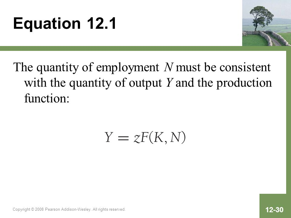 Equation 12.1The quantity of employment N must be consistent with the quantity of output Y and the production function: