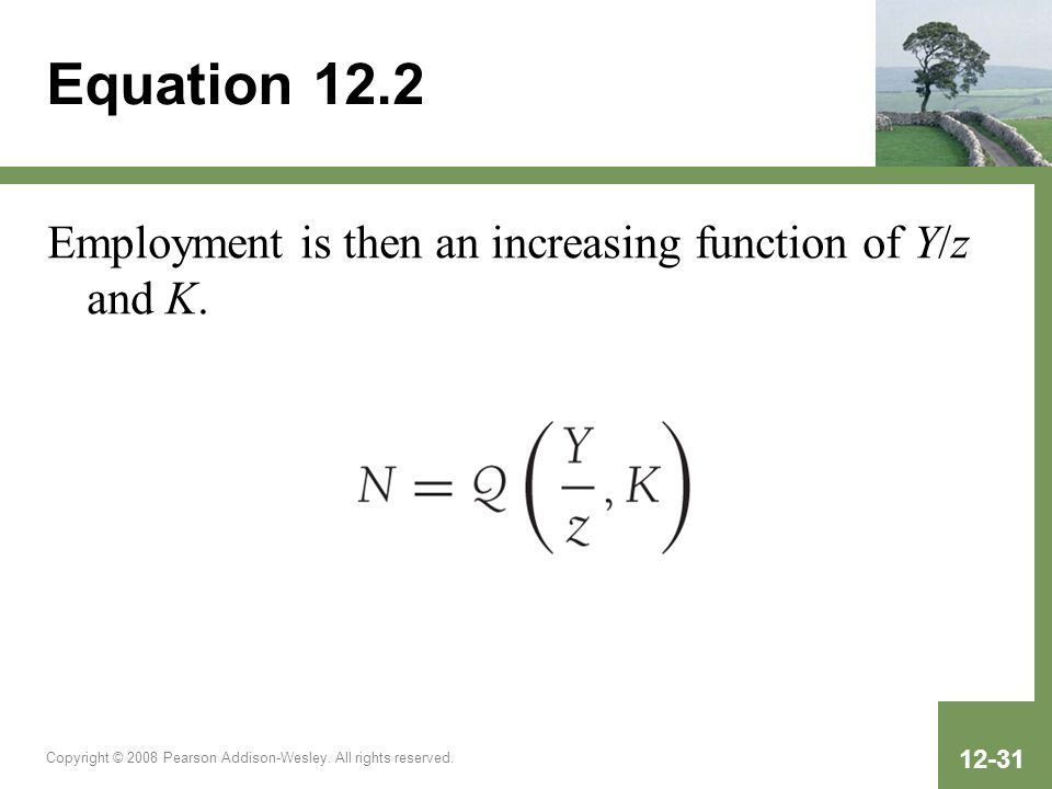 Equation 12.2 Employment is then an increasing function of Y/z and K.