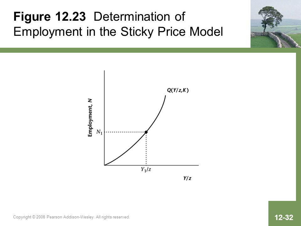 Figure 12.23 Determination of Employment in the Sticky Price Model