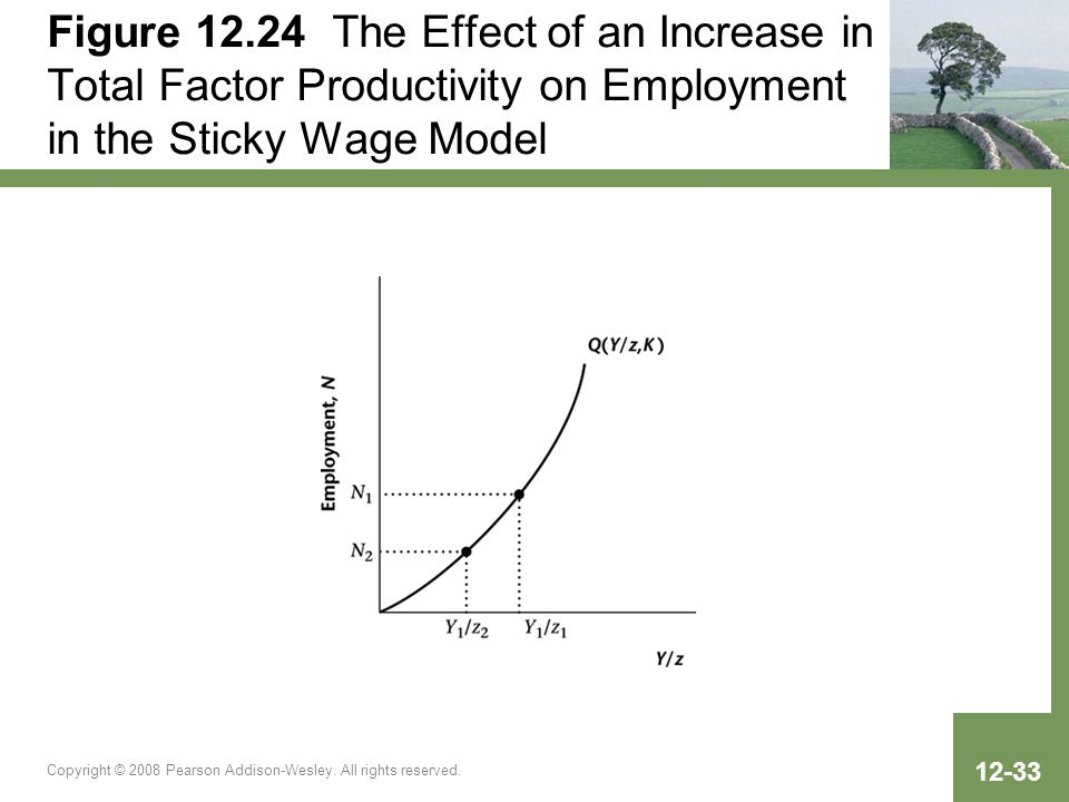 Figure 12.24 The Effect of an Increase in Total Factor Productivity on Employment in the Sticky Wage Model