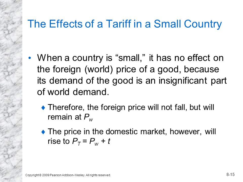 The Effects of a Tariff in a Small Country
